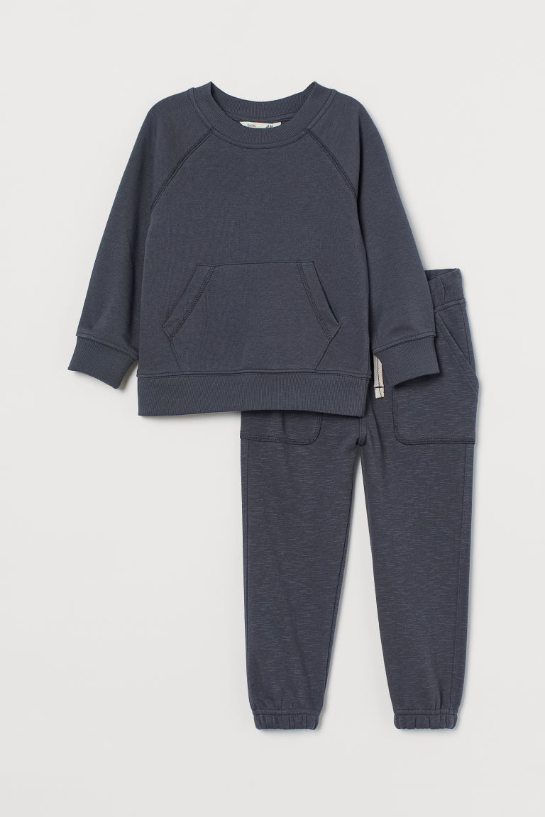 H & M - 2件組運動套裝 - 灰色