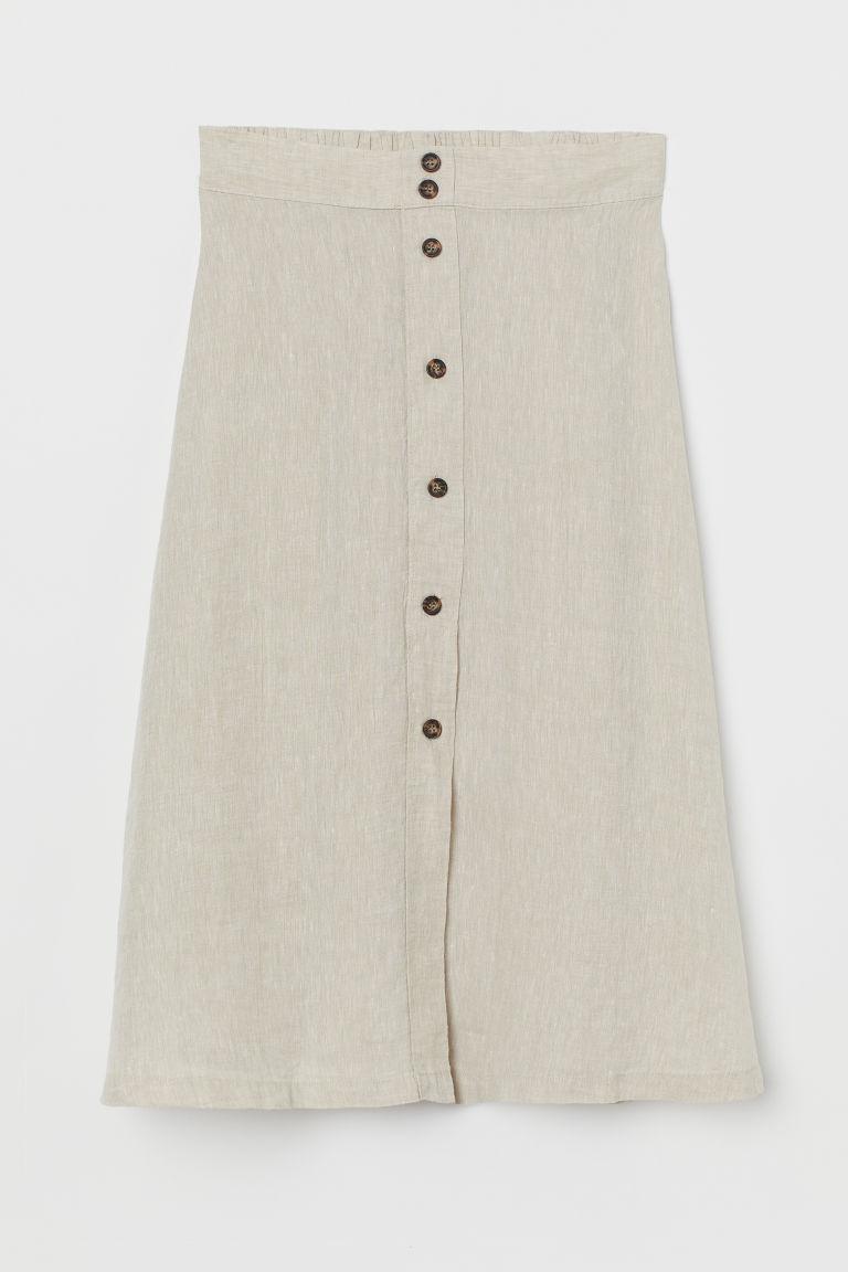 H & M - 亞麻裙 - 米黃色