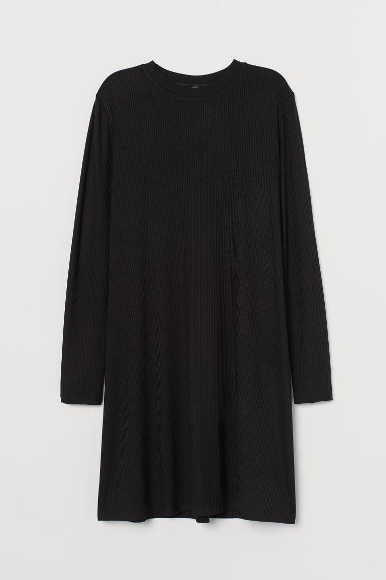 H & M - 羅紋平紋洋裝 - 黑色