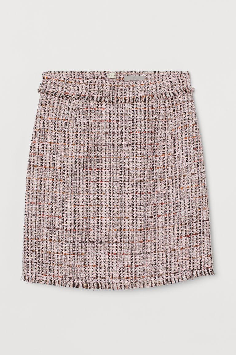 H & M - 紋理感平織裙 - 粉紅色