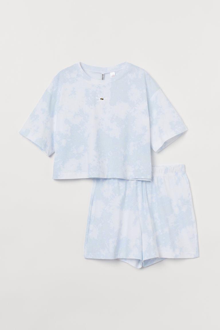 H & M - 蠟染印花睡衣套裝 - 藍色