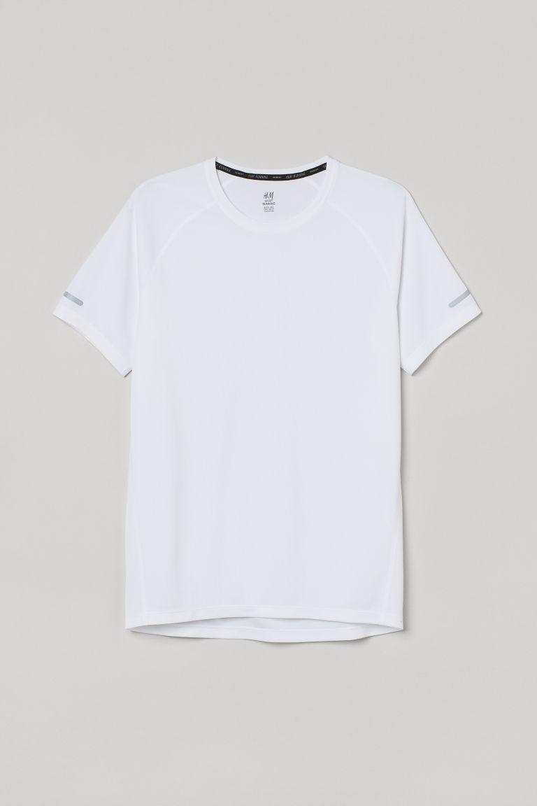 H & M - 標準剪裁跑步上衣 - 白色