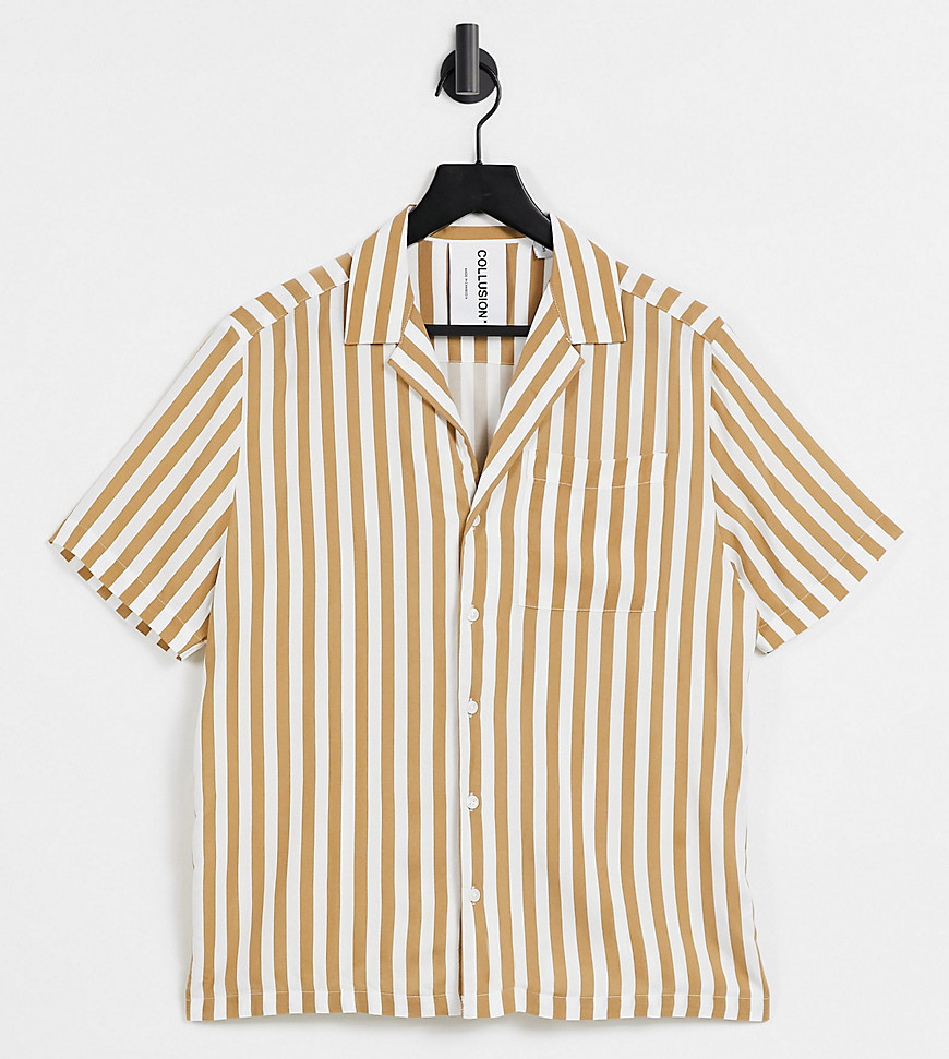 COLLUSION boxy short sleeve shirt in stripe-Multi