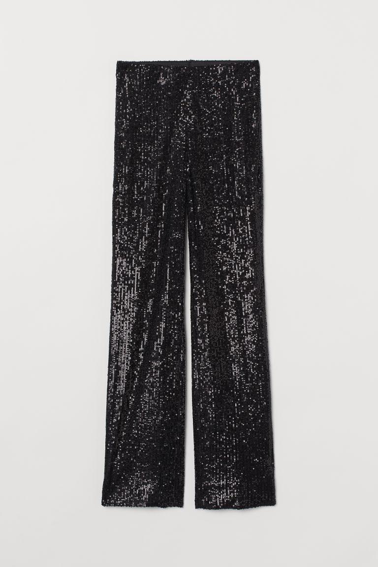 H & M - 亮片寬管褲 - 黑色