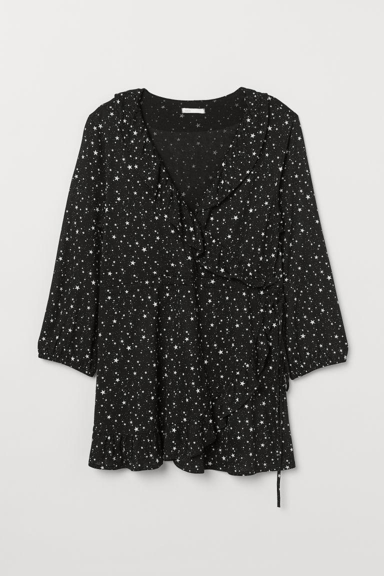 H & M - MAMA 荷葉邊上衣 - 黑色