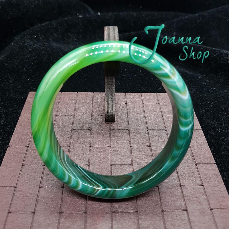 19圍天然冰種厚料綠玉髓瑪瑙手鐲 (面寬1.8-2cm )-Joanna Shop-64