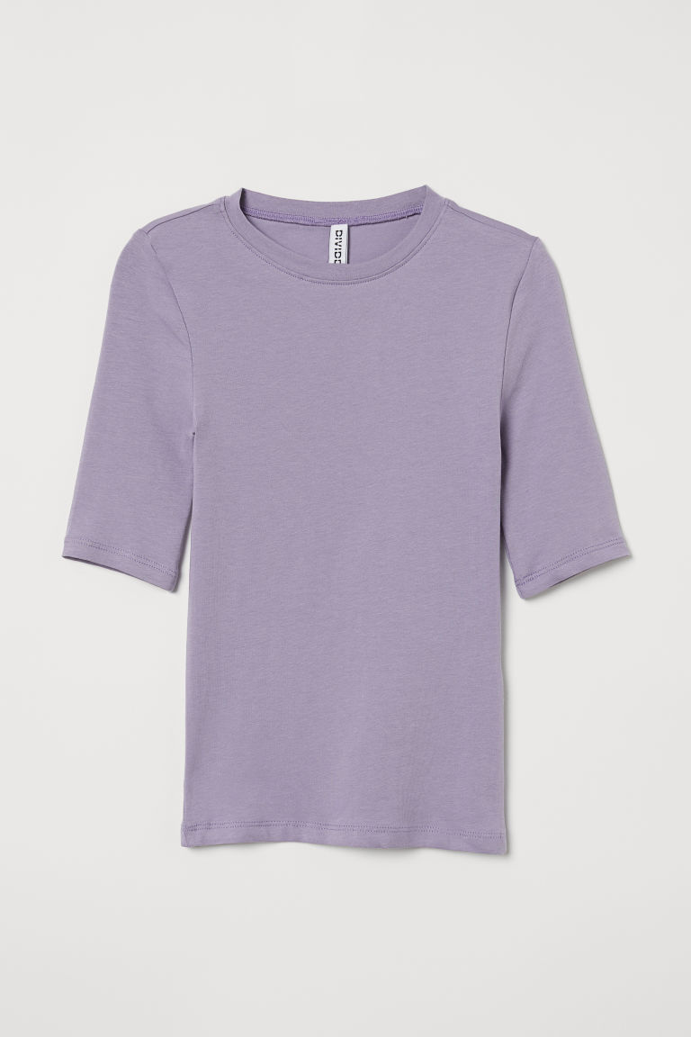 H & M - 棉質平紋上衣 - 紫色