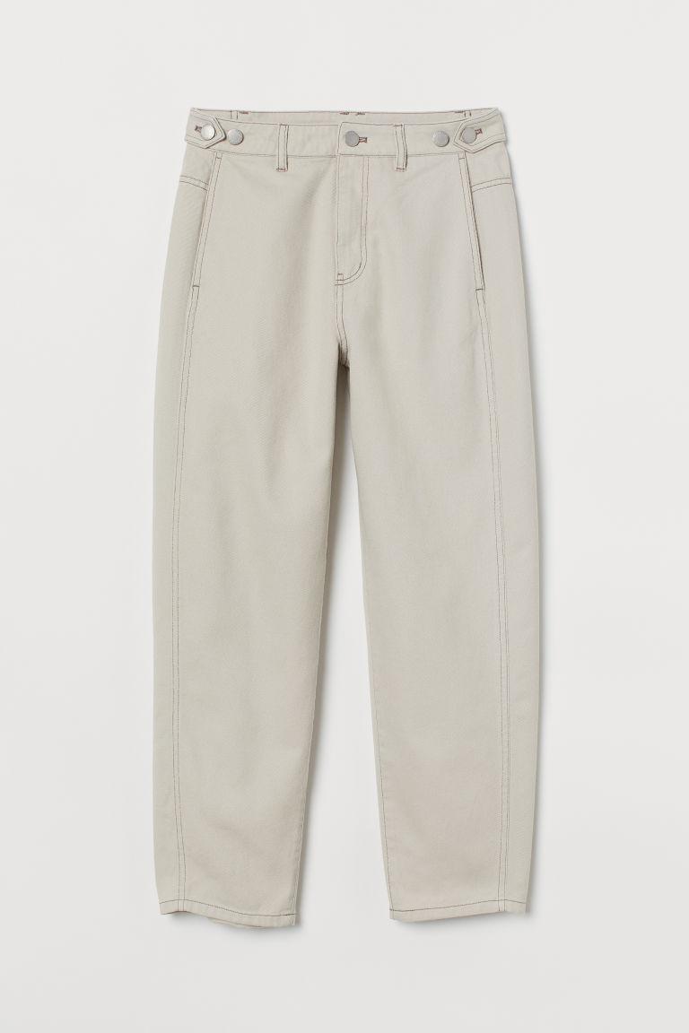 H & M - 寬鬆九分牛仔褲 - 米黃色