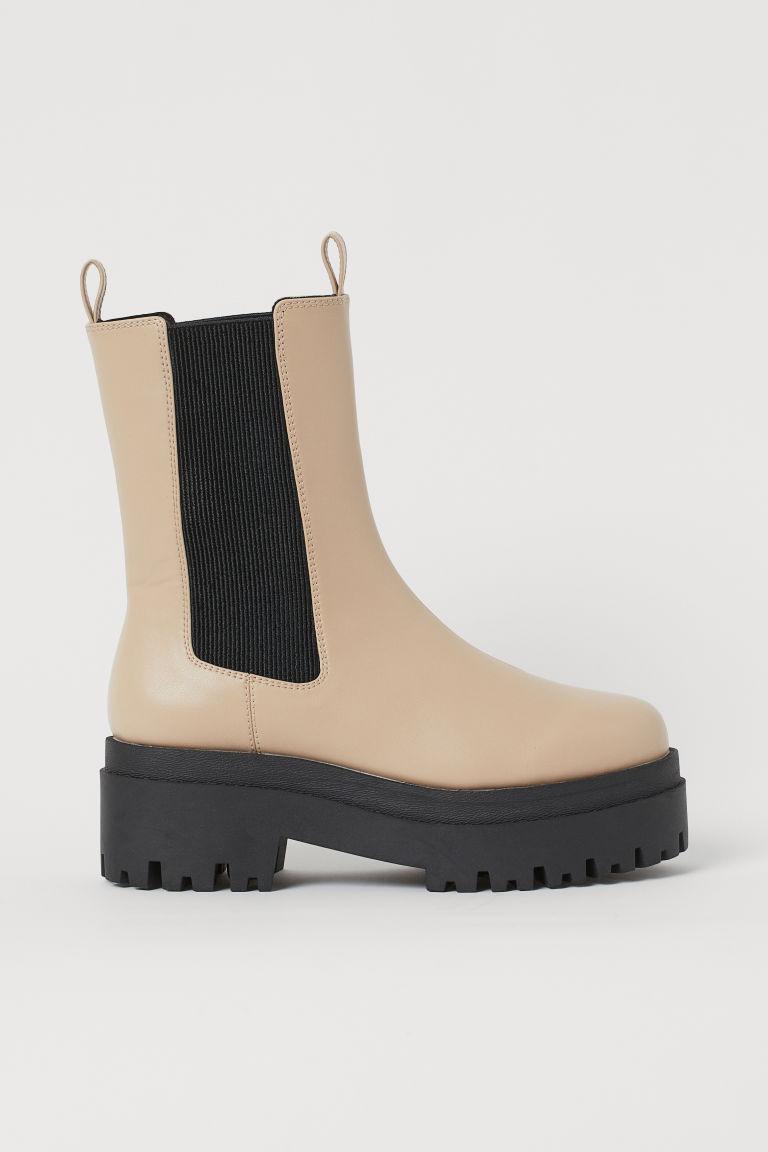 H & M - 厚底切爾西靴 - 米黃色