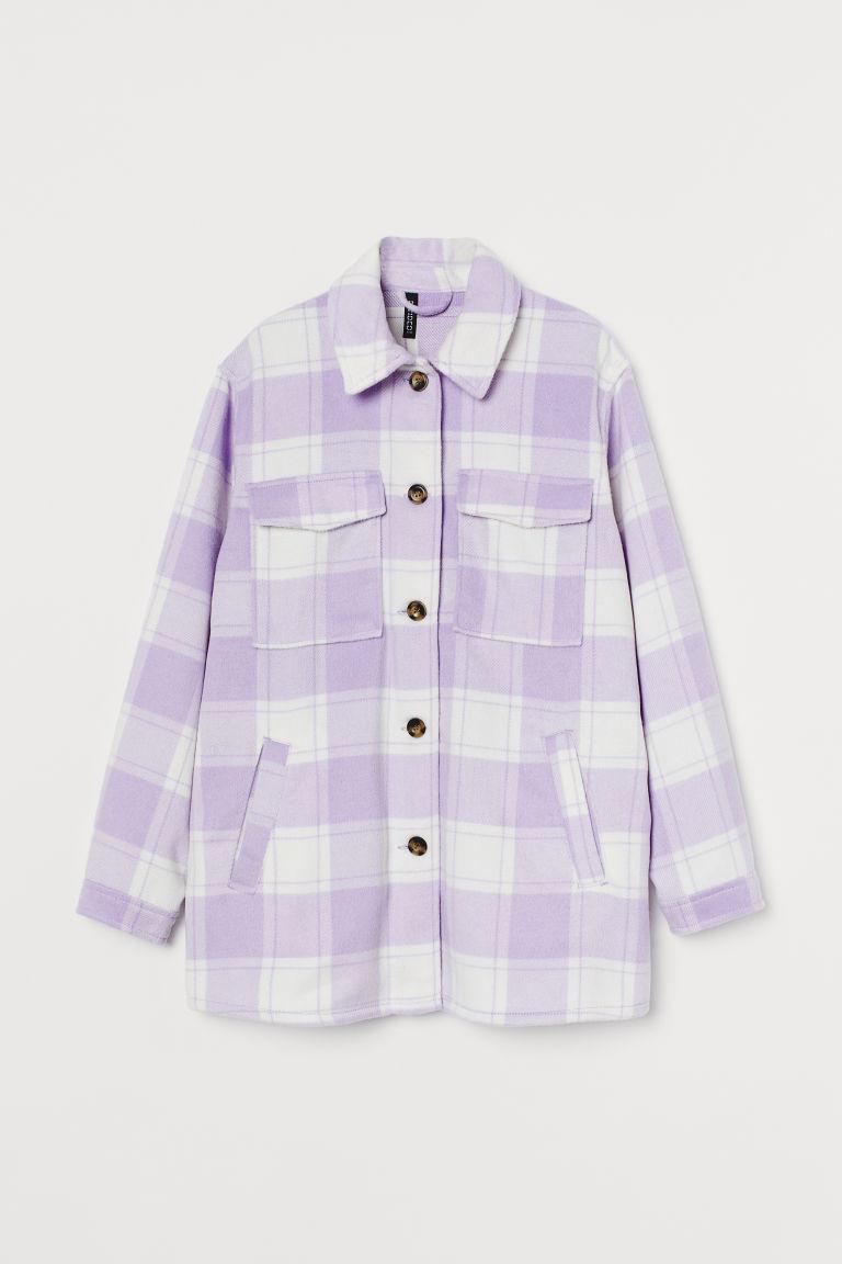 H & M - 加大碼襯衫式外套 - 紫色