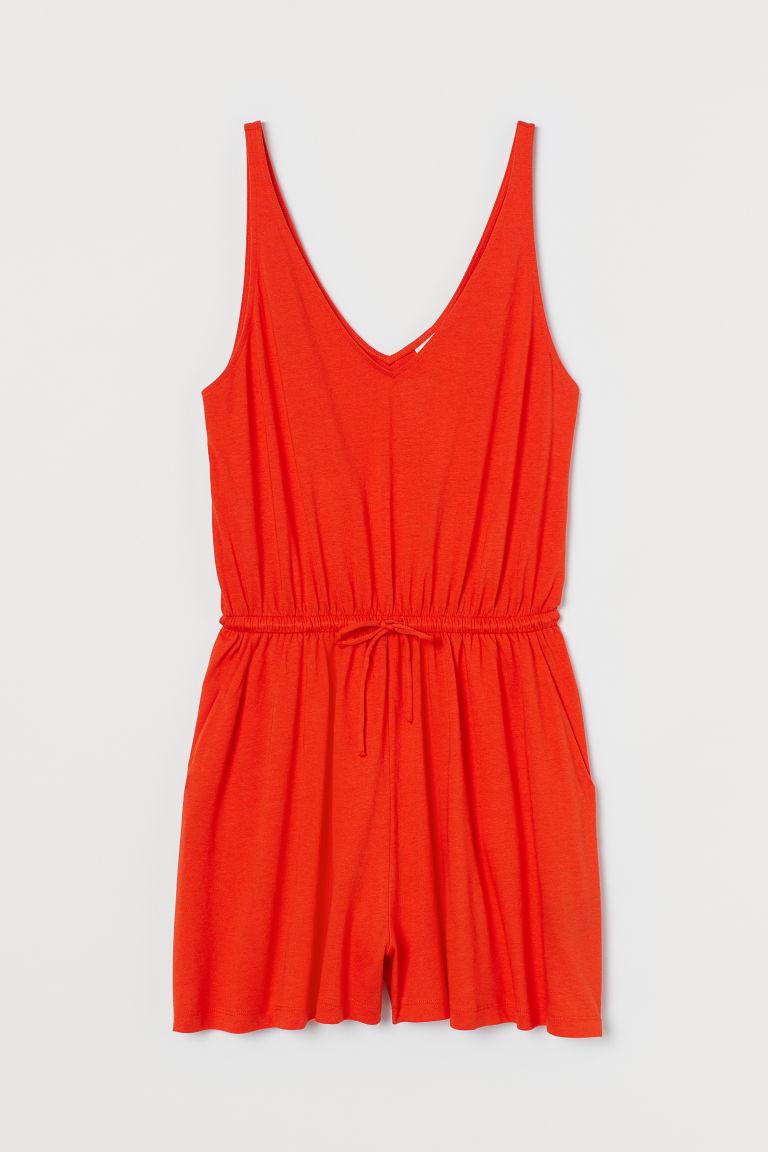 H & M - 棉質混紡連身褲裝 - 橙色