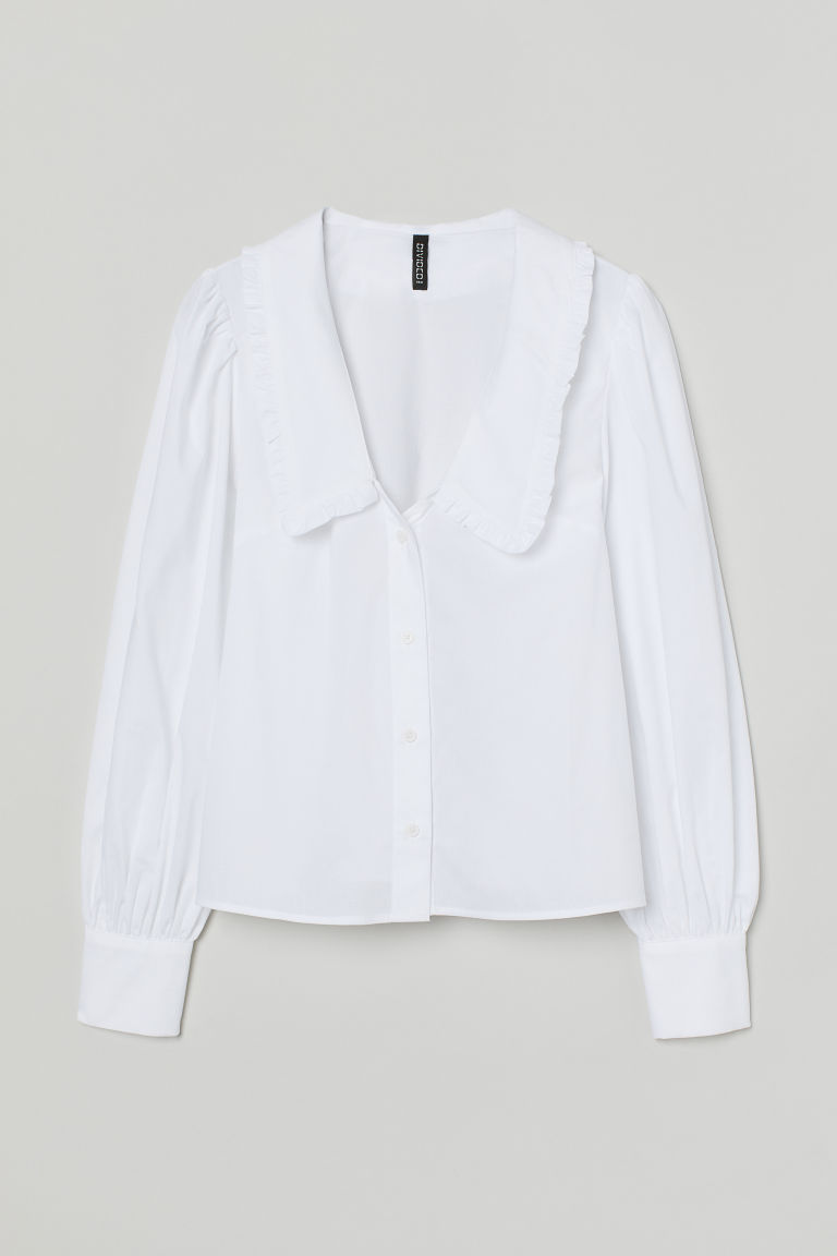 H & M - 荷葉領女衫 - 白色