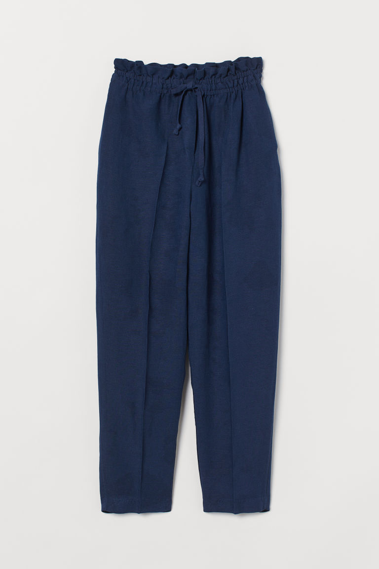 H & M - 亞麻混紡鬆緊式長褲 - 藍色