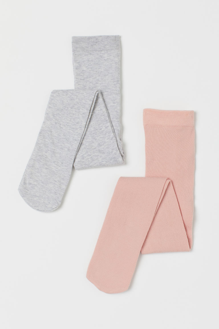 H & M - 2雙入精織褲襪 - 粉紅色