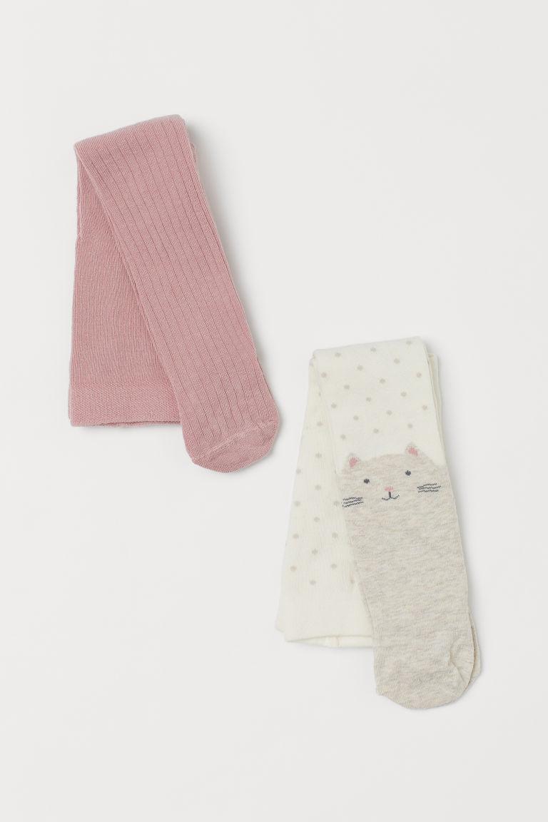 H & M - 2雙入精織褲襪 - 白色