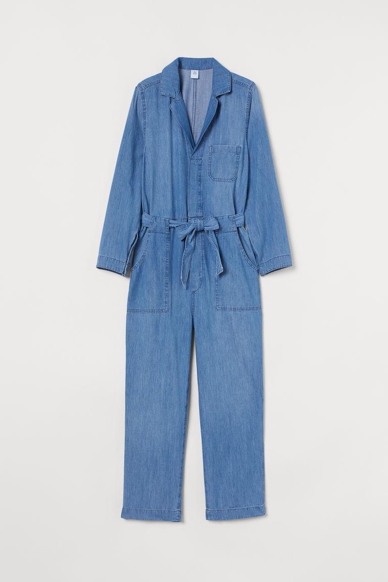 H & M - 丹寧連身工作服 - 藍色