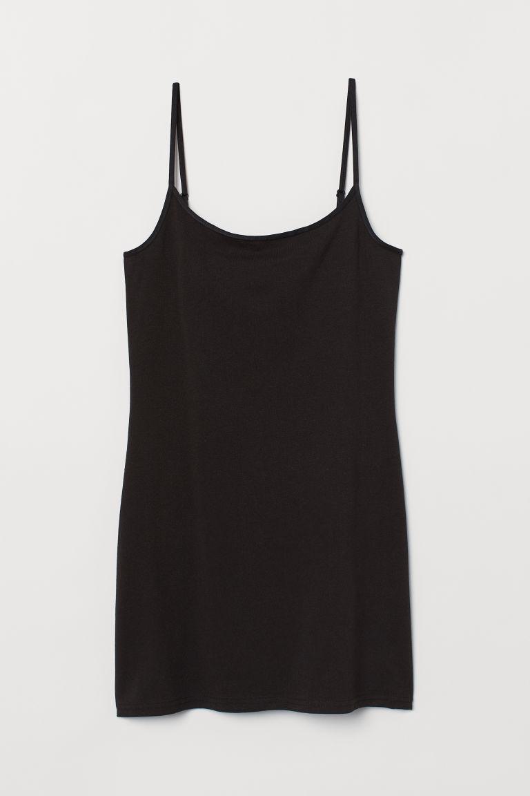 H & M - 長版細肩帶上衣 - 黑色