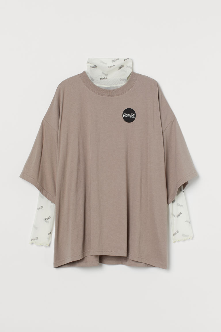 H & M - T恤和網紗圓高領上衣 - 褐色