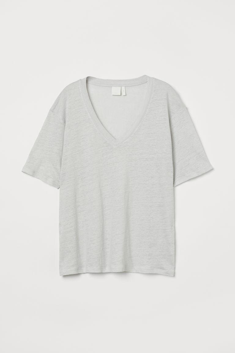 H & M - 亞麻T恤 - 灰色
