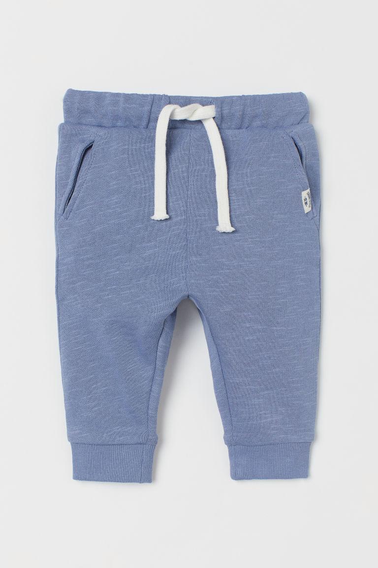 H & M - 棉質慢跑褲 - 藍色