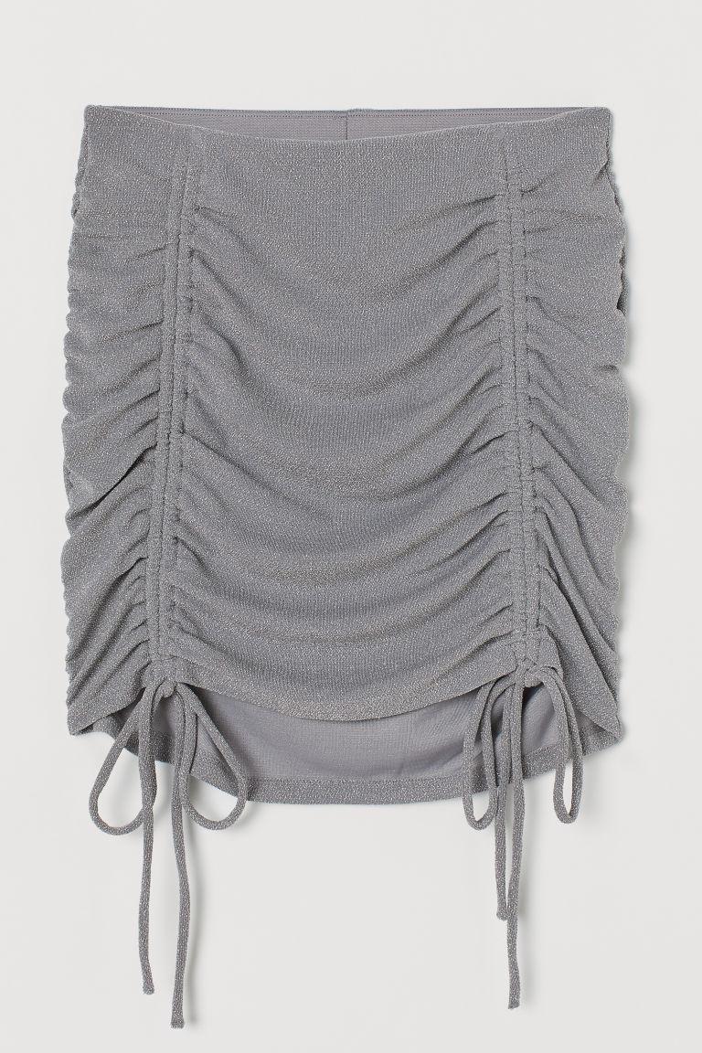 H & M - 垂墜感短裙 - 灰色