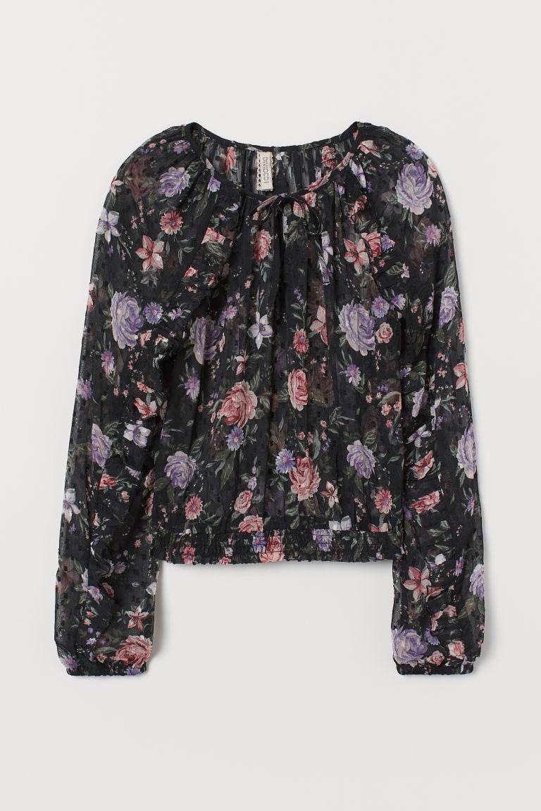 H & M - 透氣荷葉邊女衫 - 黑色