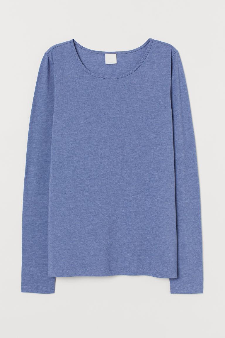 H & M - 長袖平紋上衣 - 藍色