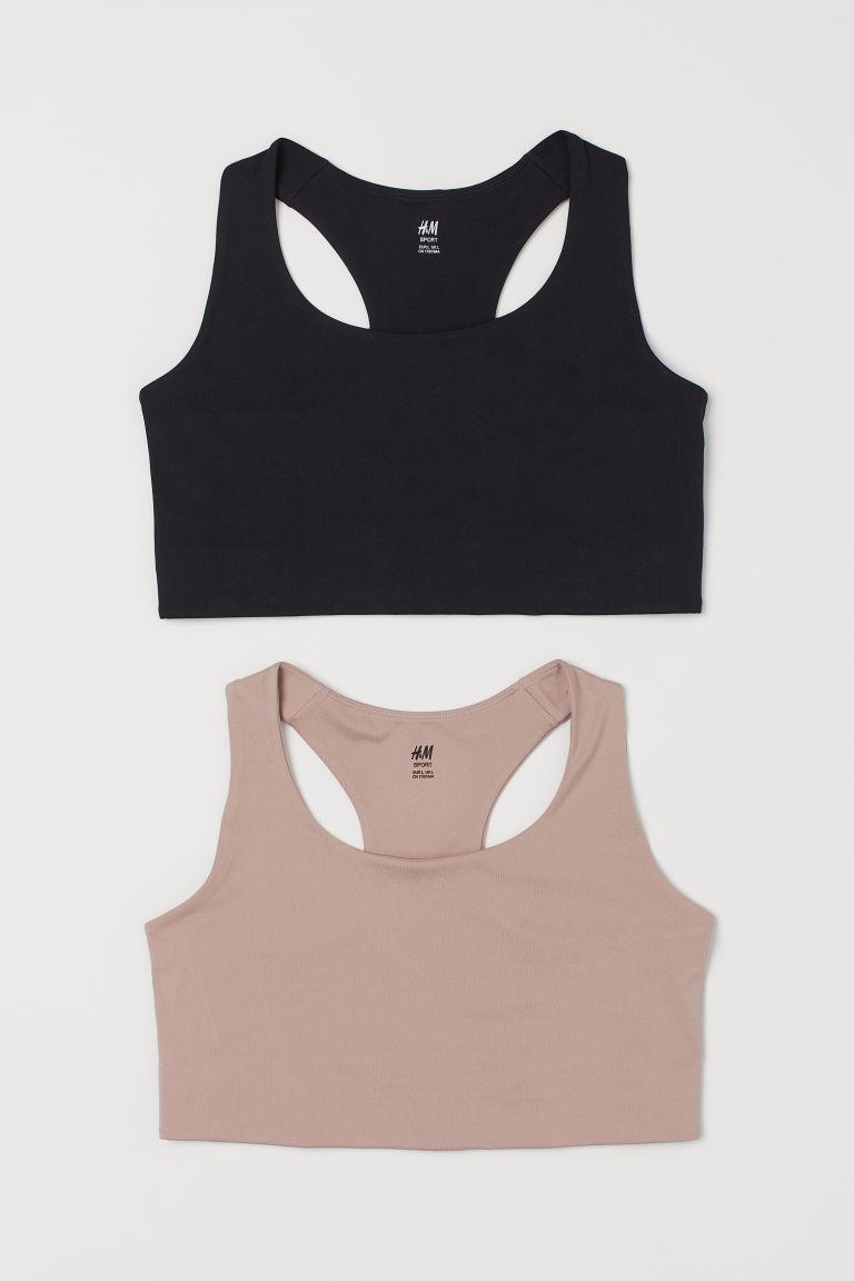 H & M - H & M+ 2件入運動內衣 - 黑色