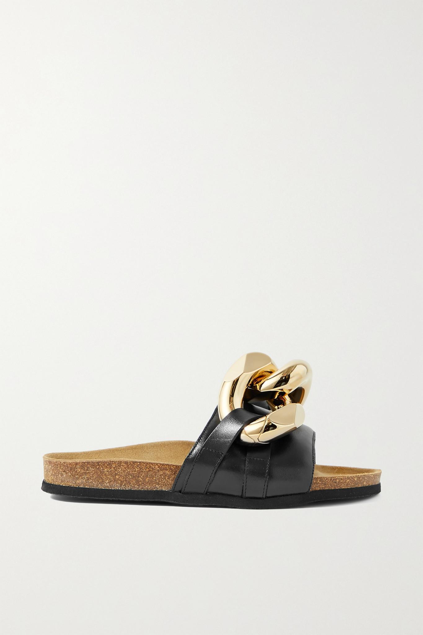 JW ANDERSON - Chain-embellished Leather Slides - Black - IT39
