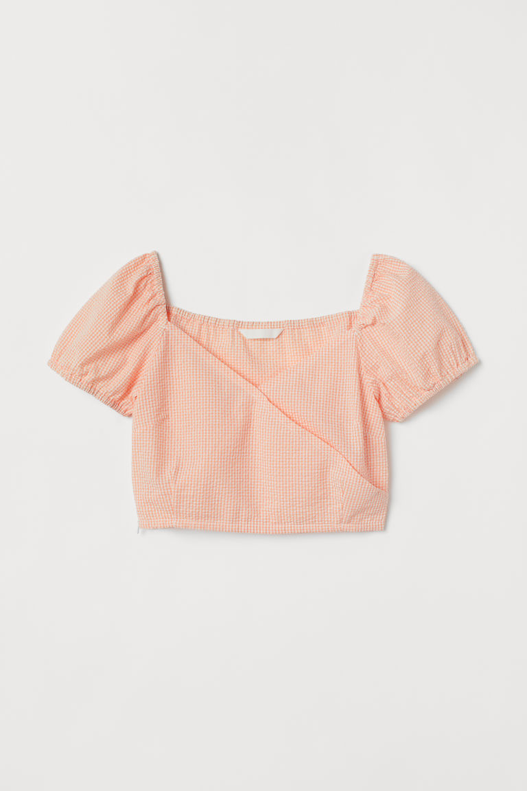 H & M - 短版上衣 - 橙色