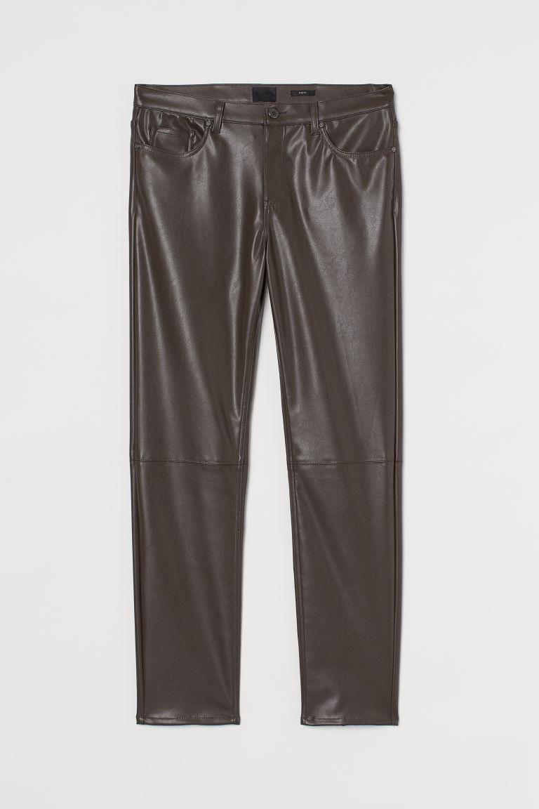 H & M - 仿皮長褲 - 褐色