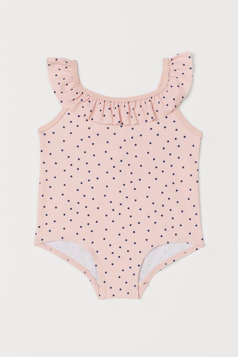H & M - 荷葉邊連身泳裝 - 粉紅色