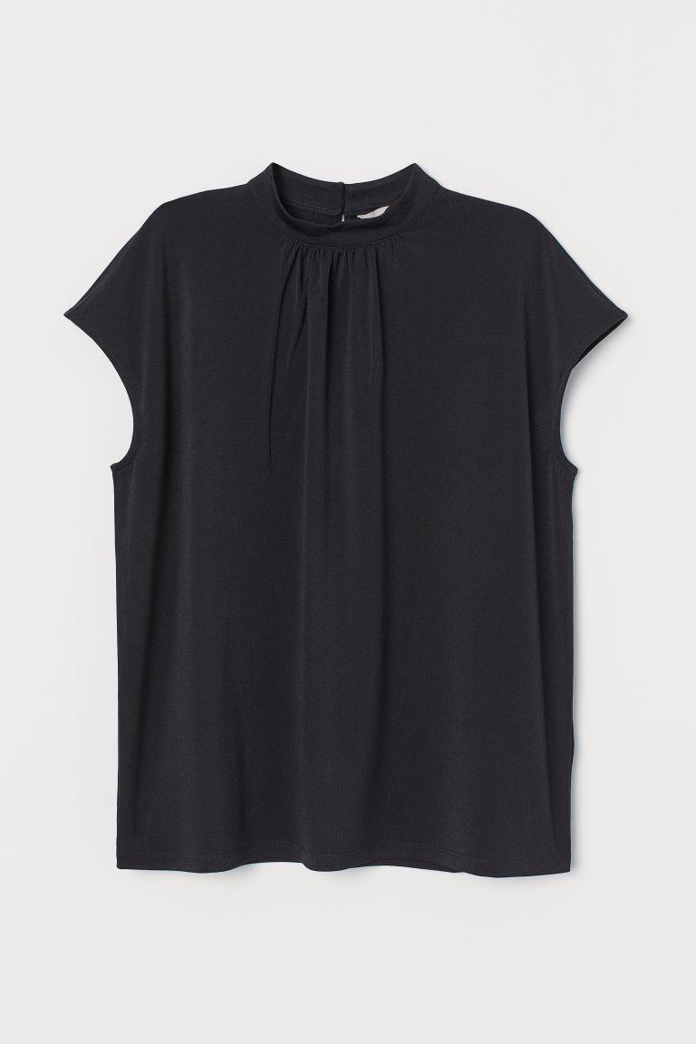 H & M - 立領上衣 - 黑色
