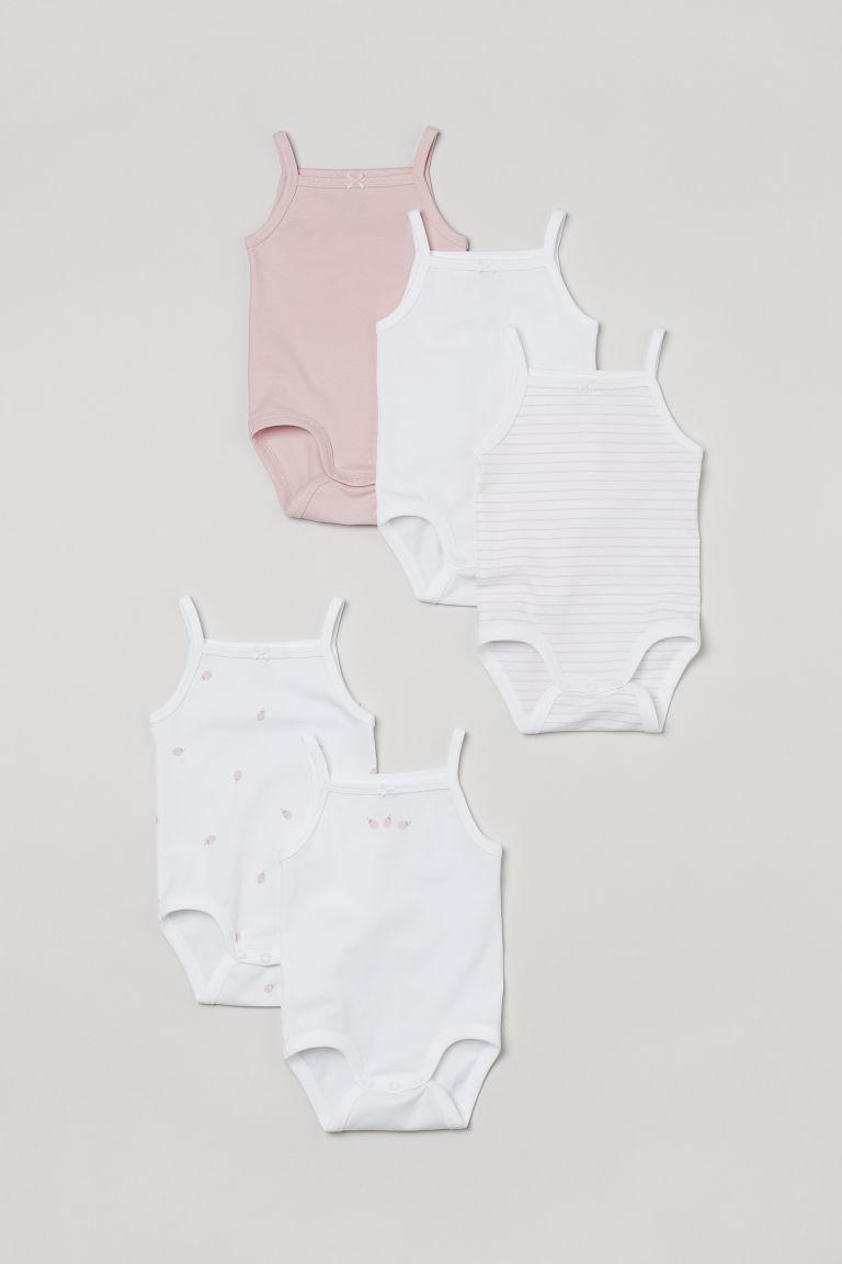 H & M - 5件入無袖連身衣 - 白色
