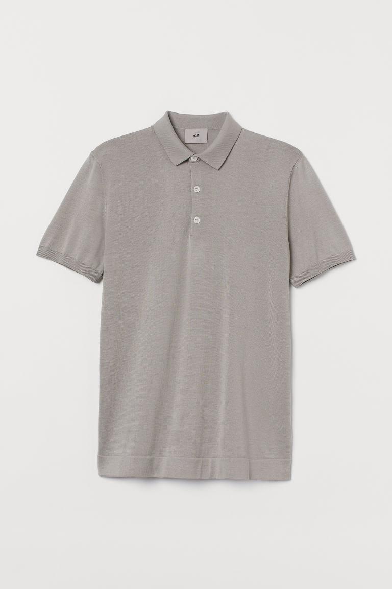 H & M - 真絲混紡Polo衫 - 褐色