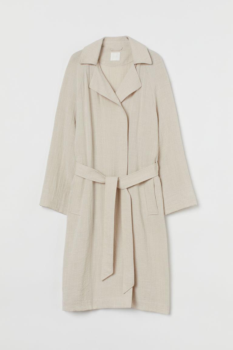 H & M - 輕薄風衣 - 米黃色