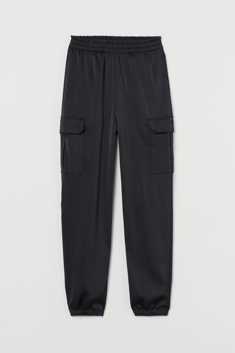 H & M - 綢緞工作褲 - 黑色