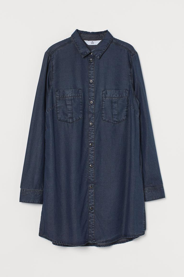 H & M - 萊賽爾襯衫式洋裝 - 藍色