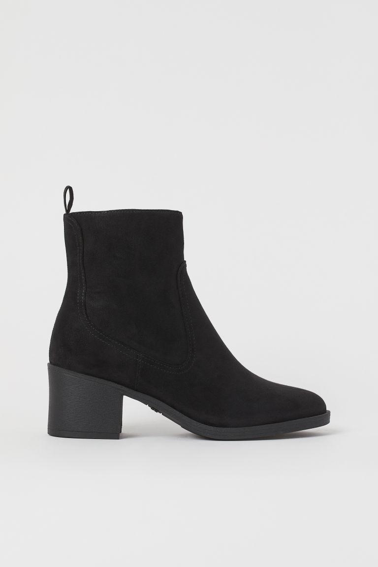 H & M - 粗方跟踝靴 - 黑色