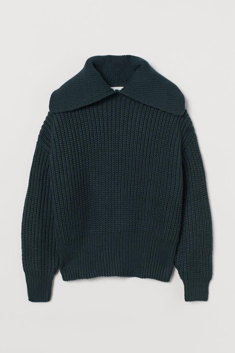 H & M - 有領羅紋針織套衫 - 綠色