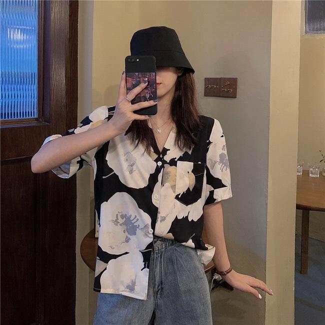FOFU-韓版寬鬆復古港味渲染印花短袖襯衫慵懶風上衣【08SG05904】