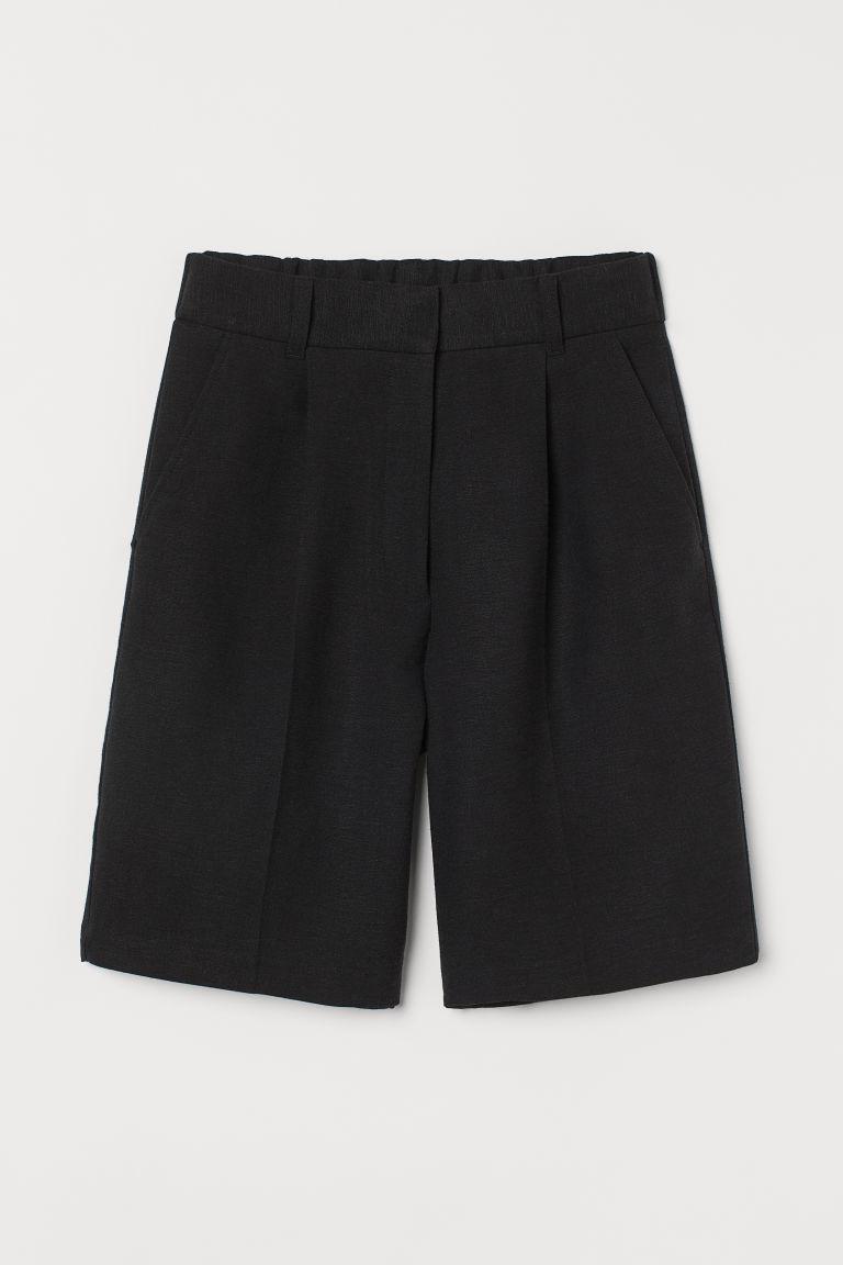 H & M - 亞麻混紡百慕達短褲 - 黑色