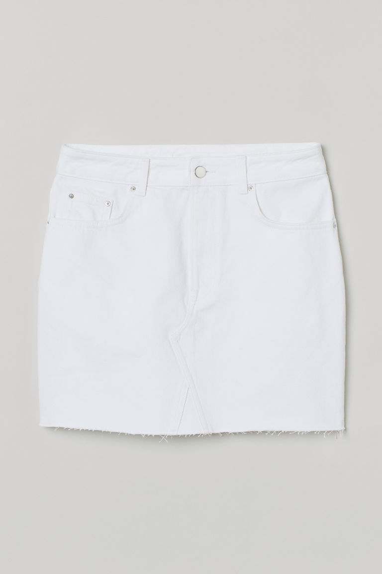 H & M - 丹寧牛仔裙 - 白色