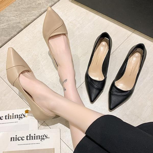 尖頭鞋.優雅素面拼接皮革高跟包鞋.白鳥麗子