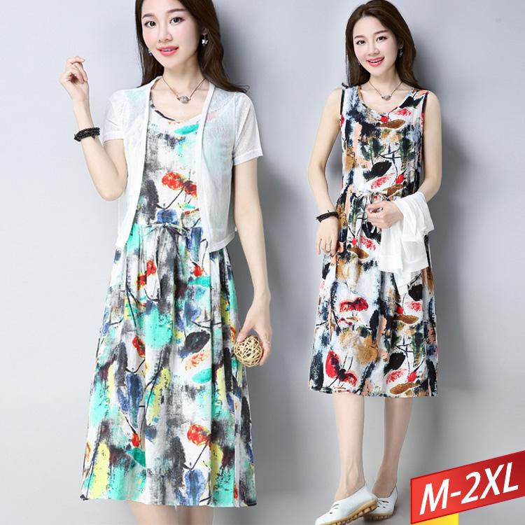 現貨出清 - 兩件式墨染花印洋裝(2色) M~2XL【023237W】-流行前線-