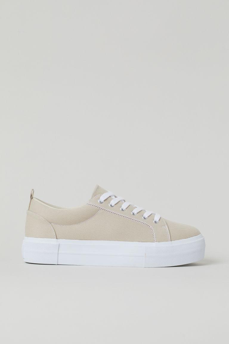 H & M - 厚底運動鞋 - 米黃色