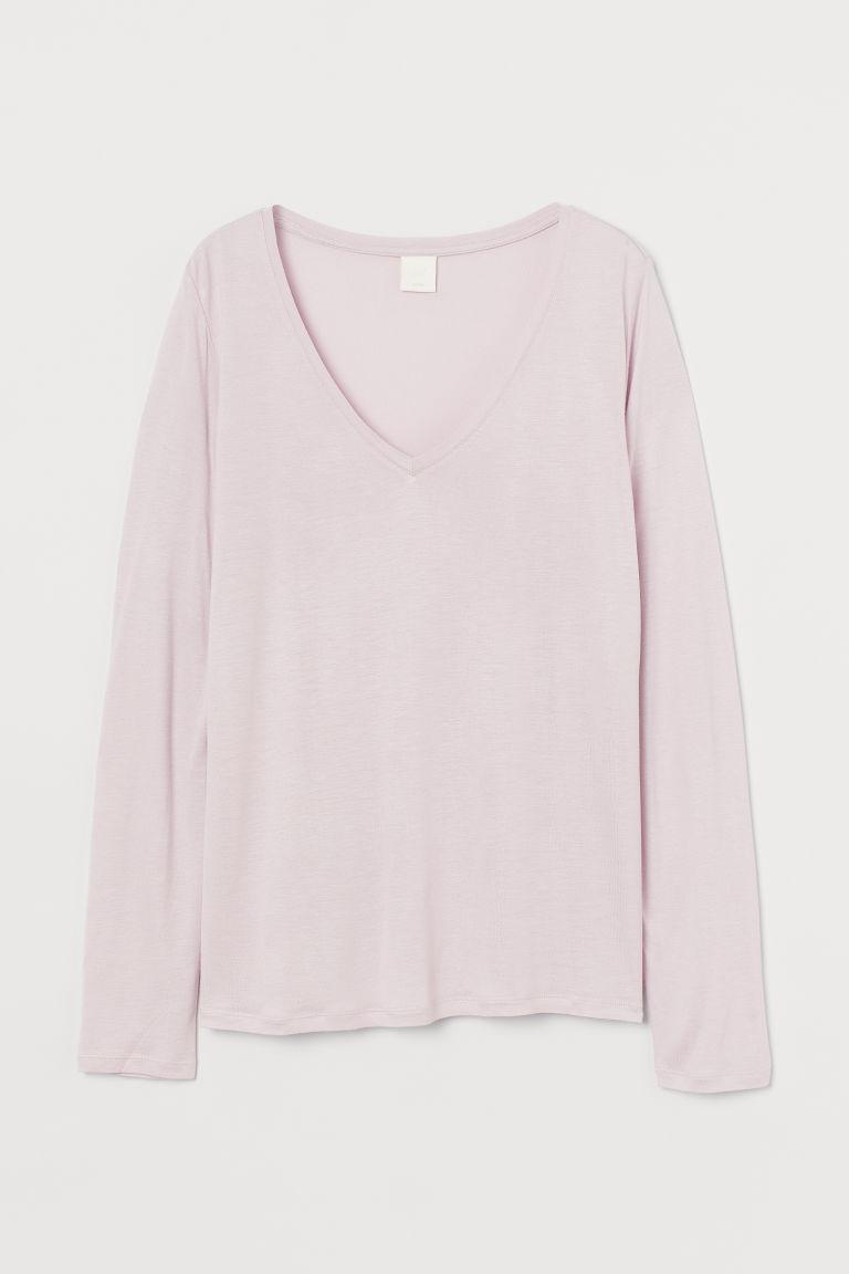 H & M - V領平紋上衣 - 粉紅色