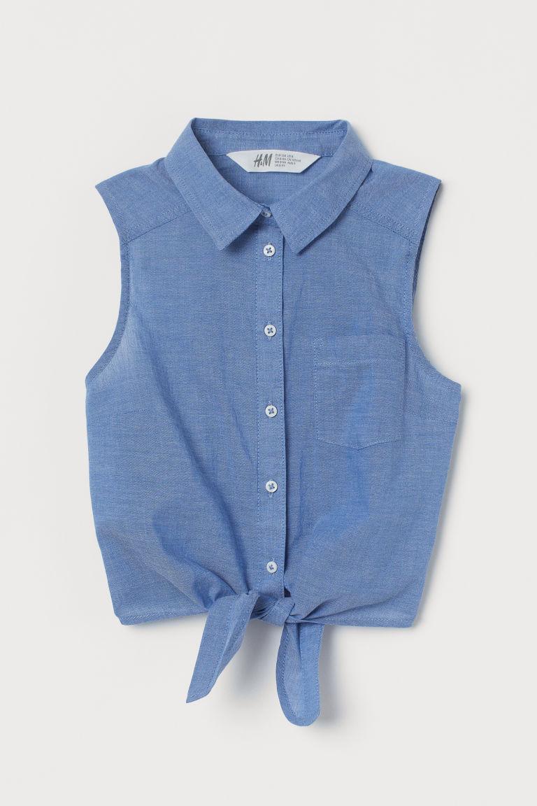 H & M - 前綁結女衫 - 藍色