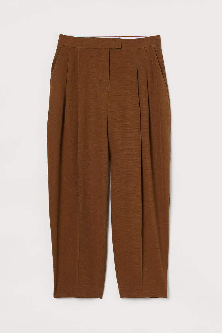 H & M - 抓褶寬管褲 - 米黃色