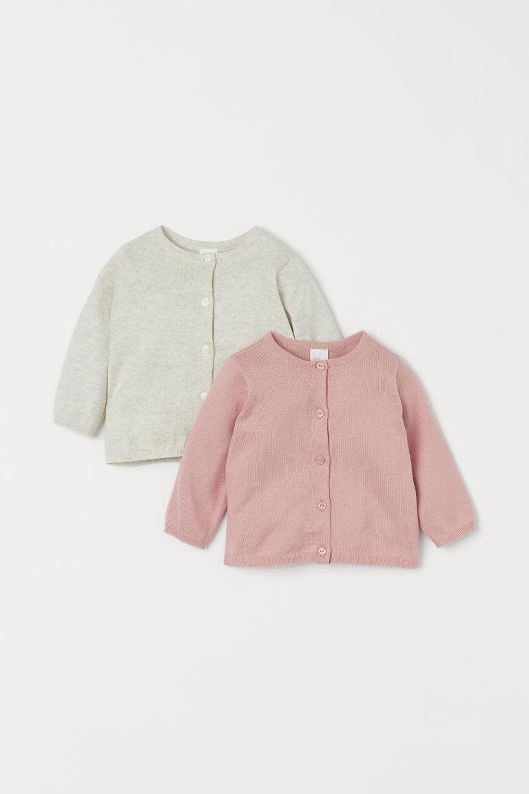 H & M - 2件入精織開襟衫 - 粉紅色
